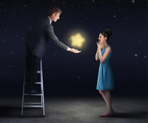 男性から女性へ星をプレゼントするイメージ